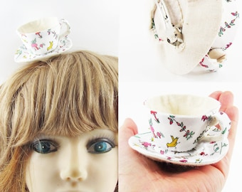 MADE-TO-ORDER ( 1 - 2 Weeks)- Miniature Teacup Hair Slide-Liberty Fabric Animals Fower White