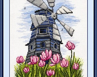 """Counted cross stitch kit """"Windmill"""", nature, for living room, flora, for bedroom, tulips, Holland, Netherlands, landscape, kitchen design"""