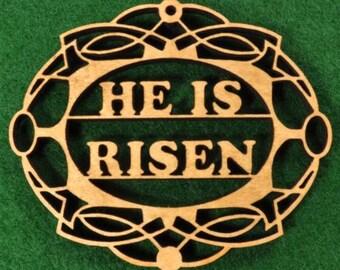 Wood He Is Risen Ornament