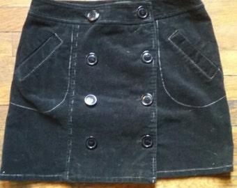 Corduroy White Stitching Button Skirt sz 8 Goth Witchy
