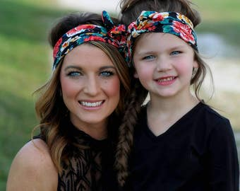 Mommy and me headband set; mommy and me; headbands; headband set; black floral headband; floral headband; knot tie headband