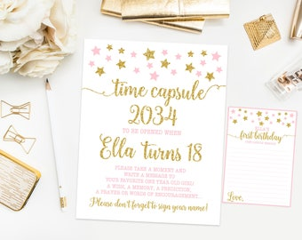 Time capsule first birthday sign, twinkle twinkle little star birthday party, pink and gold first birthday, printable print
