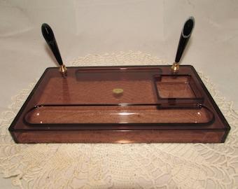 Vintage Clear Brown Acrylic Plastic Desk Organizer, Pen Holder, 70s, office, desk accessory, home décor