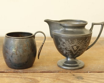 Collection of Two Unique Vintage Silver Plate Containers Creamer Cup