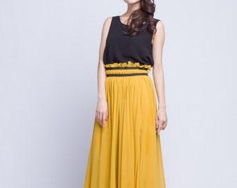 High Waist Wedding Skirt Chiffon Long Skirts Beautiful Elastic Waist Summer Skirt Floor Length Beach Skirt (201) 62#