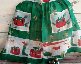 Retro Christmas Half Apron - Vintage Sheer Green Holiday Wear for a Hostess With the Mostest, Gift for a Hostess, Kitsch Christmas Apron