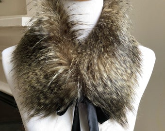 Faux Fur COLLAR, Fur Scarflette with satin ribbon ties, Women's Fur Neckwarmer, Raccoon Faux Fur Collar