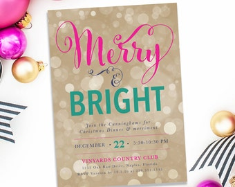 Merry & Bright: Holiday Party Invitation, Christmas, Winter - Bokeh, Gold, Glam, Glittery Pink and Green - Invite #11