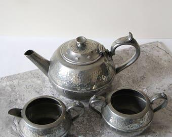 Vintage Pewter Teaset - Hammered Pewter Teapot, Milk Jug and Sugar Bowl - Sheffield Pewter
