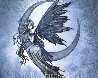 Steel Moon - Original Watercolor and Mixed Media Painting by Molly Harrison - Fairy with Stars and Moon