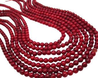 Red Coral Beads, Round Red Coral, Smooth Round, SKU 4192A