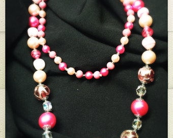 """27"""" Vintage Beaded Necklace - Hot Pink Glass"""