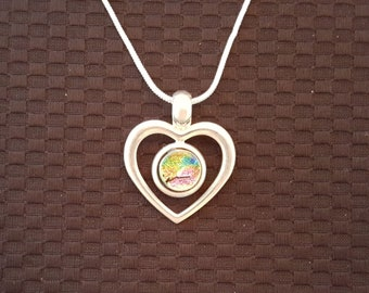 Dichroic Glass Heart Pendant