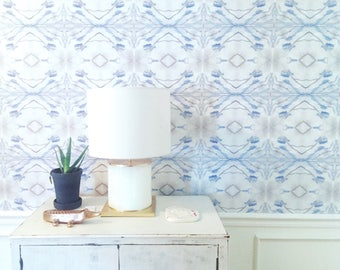 Peel and Stick Removable Wallpaper MADE IN USA Wall paper Peel & Stick Self Adhesive Temporary Removable Blue and white gray grey light blue