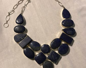 Lapis and real silver choker necklace