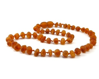 Amber Baltic Necklace Toddler Child Teething Baby Unpolished Rounded Honey Beads