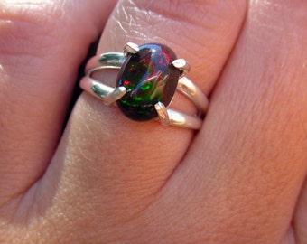 Black Opal Ring, Fire Opal Ring, Opal Ring, Anniversary Ring, Wedding Jewelry, Genuine Opal, Ethiopian Opal, Opal Solitaire, Dark Gemstone