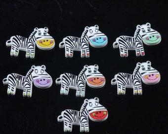Set of 5 wooden Zebra buttons