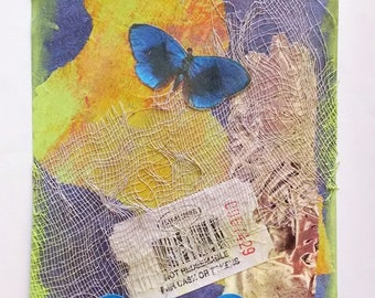 Blue Butterfly Postcard, Mixed Media Postcard, Collage Art, Original Paper Collage, Butterfly Art, 4x6 inches on paper, Free US Shipping