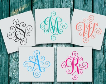 Yeti Decal - Yeti Decal for Women - Monogram Decal - Yeti Tumbler Decal - Yeti Cup Decal - Yeti Monogram - Scroll Letter