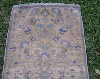 Turkish Rug 1x3 Brown Wool Pile Small Vintage Rug Hand Knotted Semi Antique Area Rug - ASYA0103