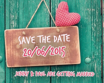 Printed Personalised Vintage Save The Date Cards X10