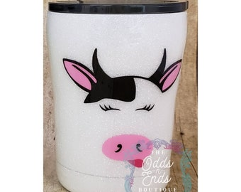 Kid's Glittered Cow Tumbler