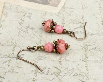 Pink Earrings, Coral Pink Earrings, Coral Earrings, Small Earrings, Dainty Earrings, Czech Glass Beads, Dark Pink Earrings, Unique Earrings
