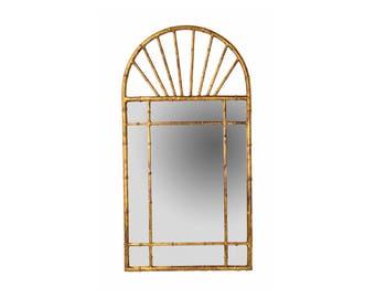 Vintage Labarge Oval Top Spanish Gilt Metal Faux Bamboo Wall Mirror