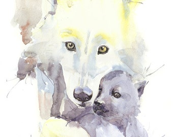 Wolf Watercolor Painting Woodland Nursery Decor Mother And Baby Animal Print Wolf Art Mother love Nursery Wolves Art Images Illustration