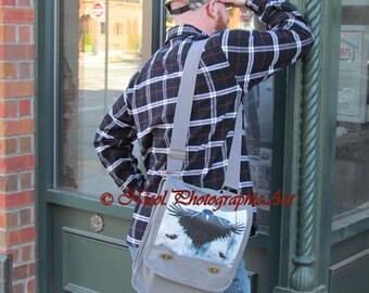 Crow Bird Wing Cross Body Bag Grey Canvas Messenger Bag Book Bag Laptop Bag A153