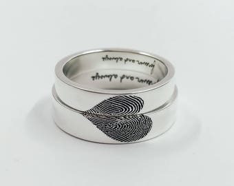 NEW OPEN 20%OFF:Heart-Sharp Fingerprint Ring/High Quality Handwriting Ring/Wedding Band/Promise Ring-Sterling silver with gold plated