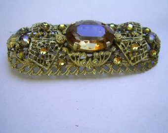 Quality Vintage CZECHOSLOVAKIAN 1930's Brass FILLIGREE Oblong BROOCH with Facetted Glass Stones