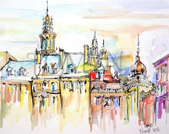 POLAND  ART. Original watercolor painting. Warsaw. Old city. Market Square