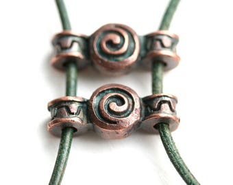 Two hole Antique Copper Connector, Spiral Ornament 2 hole connector, Greek copper metal casting findings for leather cord F634