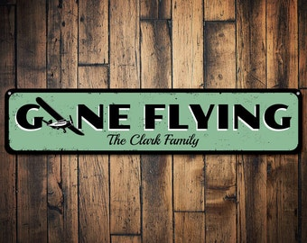 Gone Flying Sign, Personalized Airplane Sign, Custom Family Name Sign, Metal Aviation Sign, Airplane Decor - Quality Aluminum ENS1001154