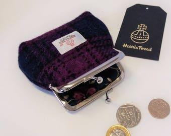 Harris Tweed Coin Purse / Handmade /Dark Pink, Navy and Black Checked