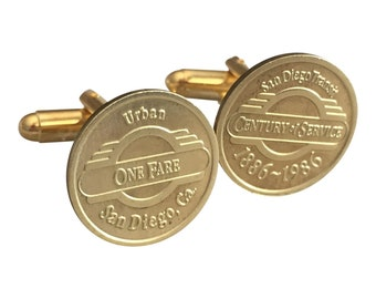 San Diego Transit Commemorative Issue Token Cufflinks Free Gift Box and Free Shipping
