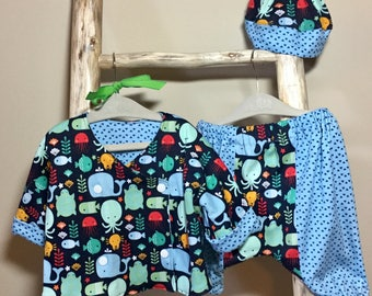 Baby Clothing Set, Baby Jacket And Pants, Baby 3 Piece Clothing Set, Baby Outfit.  Baby Ocean Theme Outfit