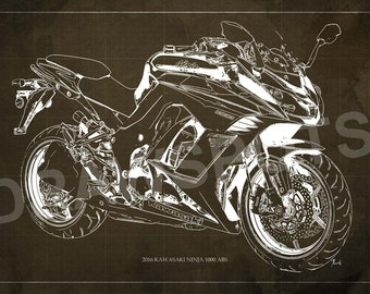 Bmw r602 special 1965 blueprint art print 8x12in to 60x41in kawasaki ninja 1000 abs 2016 blueprint art print 8x12in to 60x41in motorcycle art print malvernweather Images