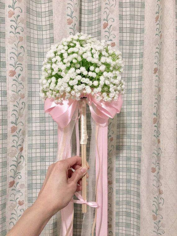 Babys breath wedding wand /flower girl wand / Wedding Flower