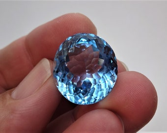 46.40 Cts. Ravishing Color! JUMBO Swiss Blue Topaz from Brazil, Full Sparkling and Eye Clean!