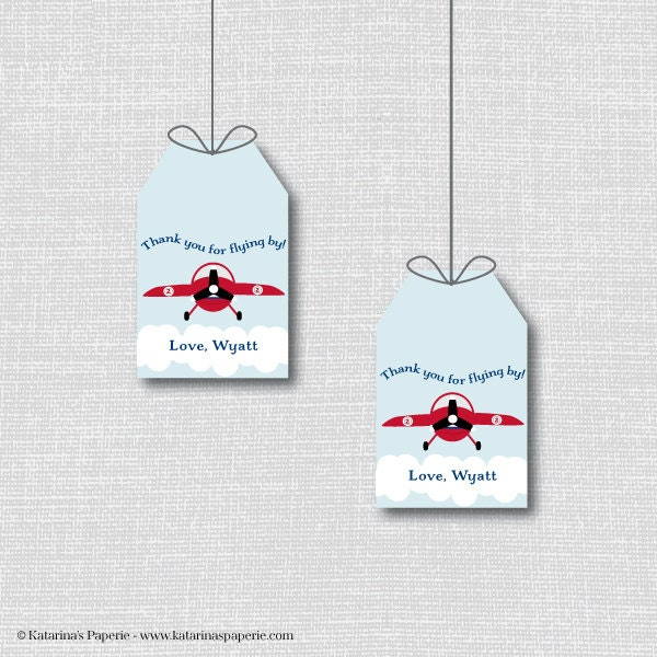 Airplane Birthday Party Favor Tags: Vintage Airplane Favor Thank You Tags Airplane Theme