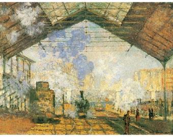 Hand-cut wooden jigsaw puzzle. SAINT-LAZARE. Claude Monet. Impressionist. Impressionism. Wood, collectible. Bella Puzzles.