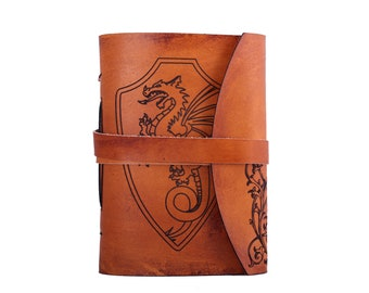 Dragon  journal. personalized journal. lined paper. Antique leather journal. rustic journal. Small leather journal. Travel journal.