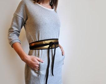 Bronze and dark brown leather Obi belt, Dark gold wide waist belt