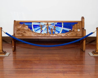 """Hand Carved Church Pew with Backlit Stained Glass Story of Christ's Crucifixion 85-1/2"""" long  Custom religious artwork for a church"""