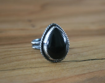 Black Onyx & Sterling Silver Statement Ring Size 8.25