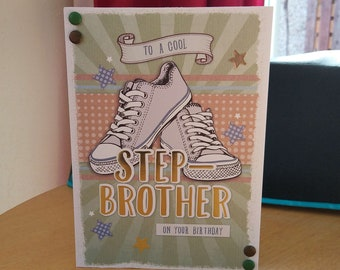 Step Brother Birthday Card - luxury quality bespoke UK handmade