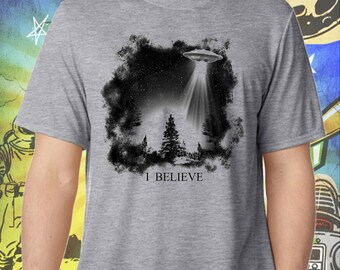 The X-Files / Fox Mulder / I Believe UFO /  Men's Gray Performance T-Shirt